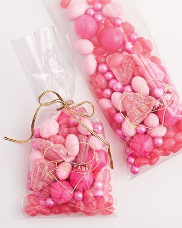 Martha Stewart bridal shower gift bags but I'm thinking pretty valentine's day bags.  I wonder where the pearly candies came from.  Do they still have candy stores?