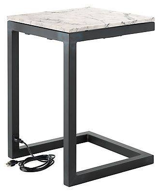 Parsons C Table With Power Usb Marble 489 Modern End Tables
