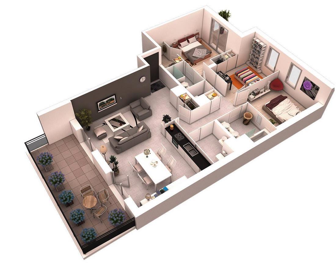 Más de 25 Planos de Distribución en 3D con 3 Dormitorios