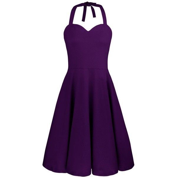 Styleword Women's Halter Neck Casual Retro Cocktail Dress (€8,91) ❤ liked on Polyvore featuring dresses, halter top, purple halter top, halter dress, halter cocktail dress and purple retro dress