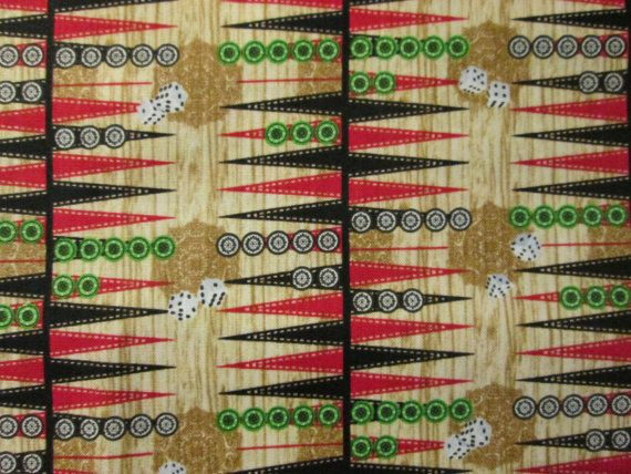Backgammon Boards Game Pieces and Dice Cotton Fabric Fat Quarter