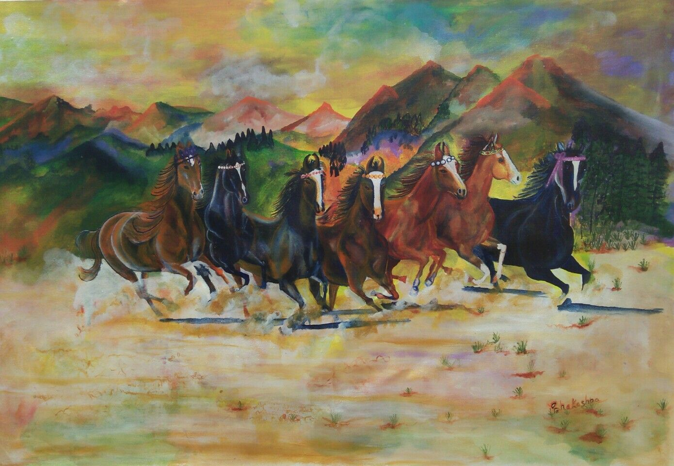 Seven Vastu Horses For Southern Wall Of Your Office Or Home Painting Acrylic Painting Indian Classical Dance