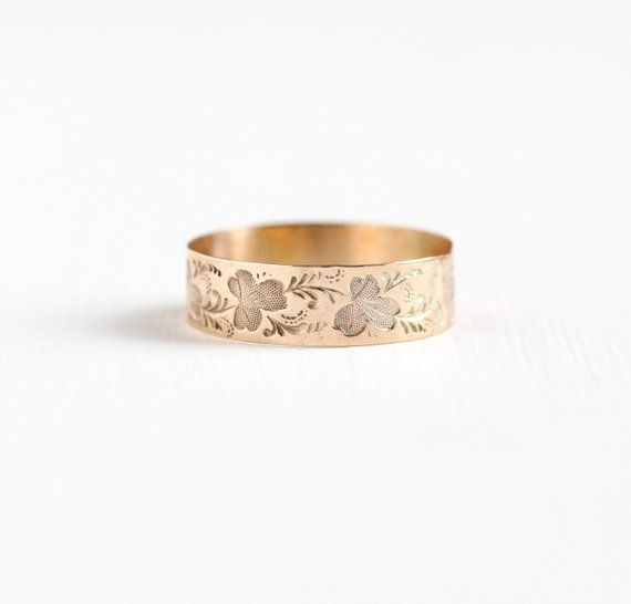 Antique Victorian 8k Rose Gold Leaf Ring - Men's Size 10 Vintage Late 1800s Nature Vine Wedding ...