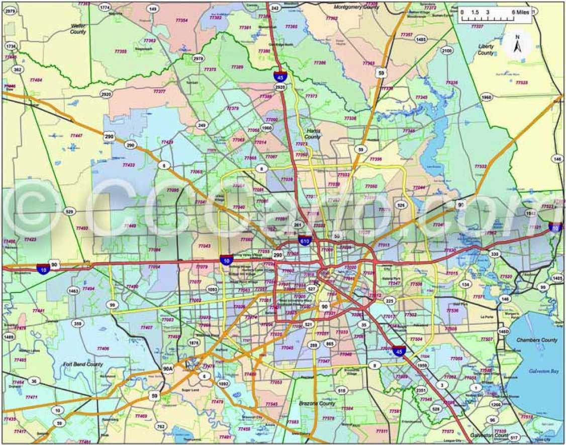600 dpi Harris County zip codes | Houston Zip Code Map | Houston zip ...