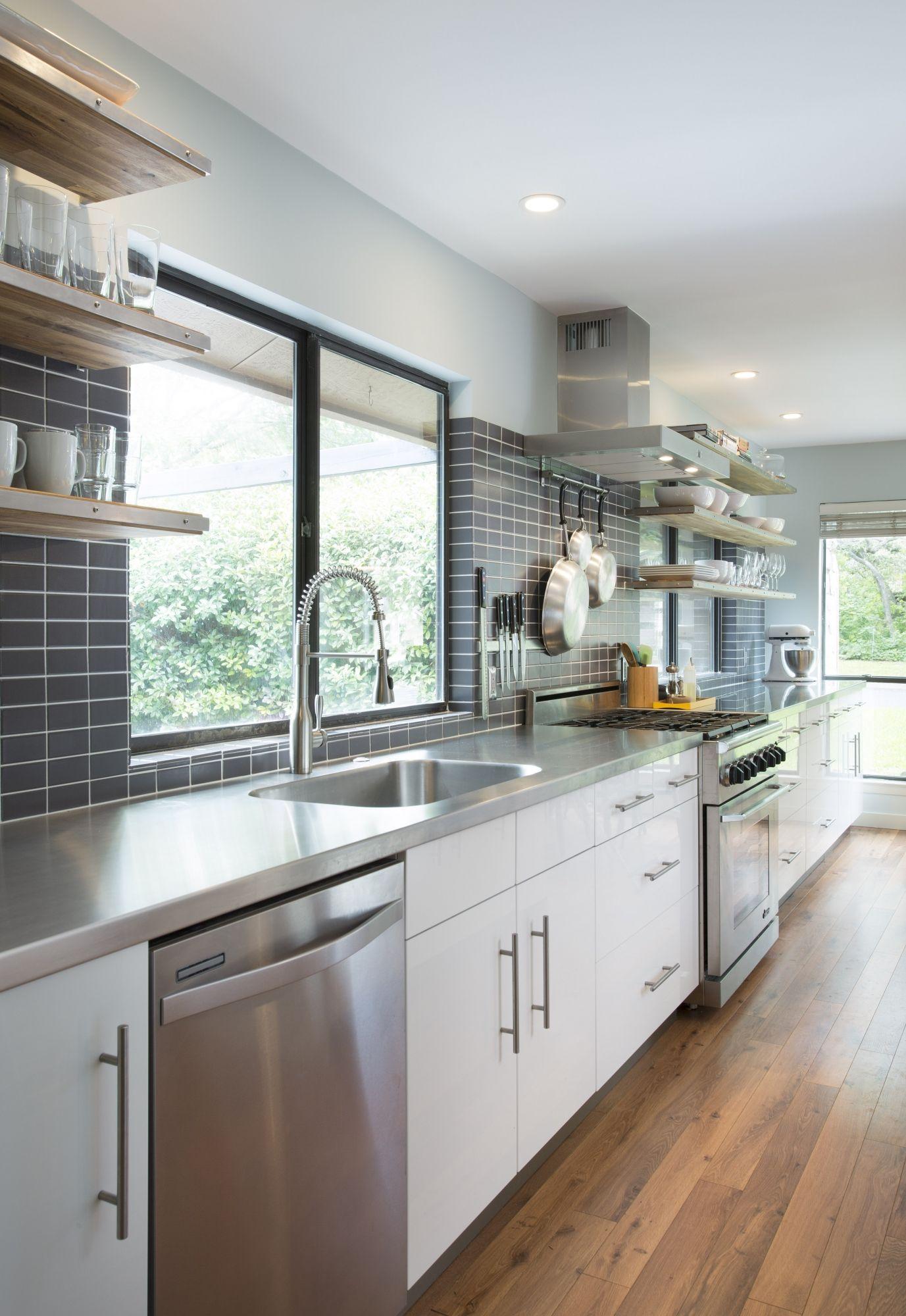 Grey And White Galley Kitchen modern white & grey galley kitchen | cultivate #kitchen