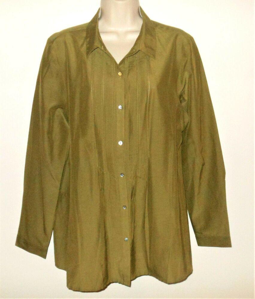 02386310f44c3 J Jill Blouse L 14 16 NEW Shirt Vine Green Cotton Silk Womens Large ...