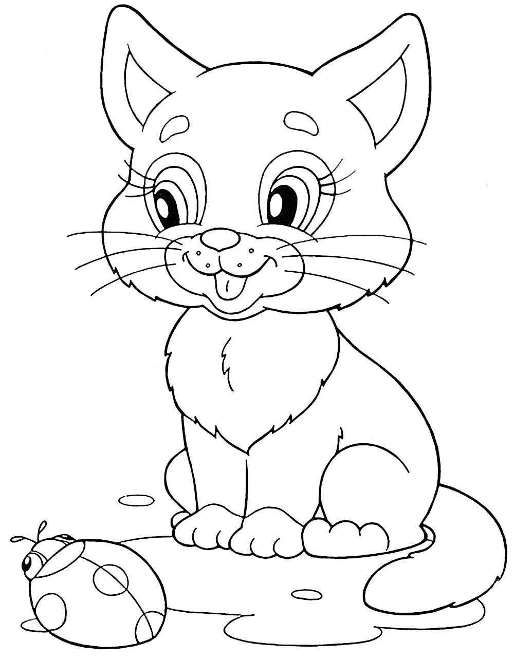 Котенок с божьей коровкой | Раскраски, Рисунки животных ...