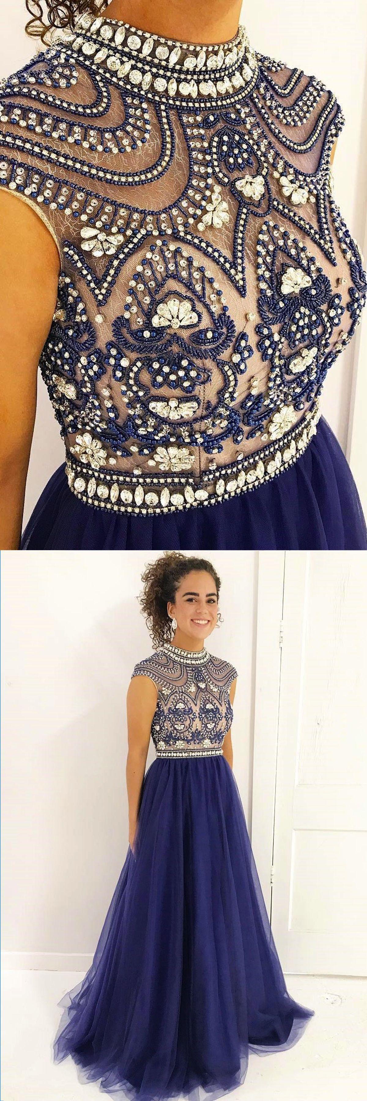 Prom dresses beaded navy blue tulle prom dress for teens