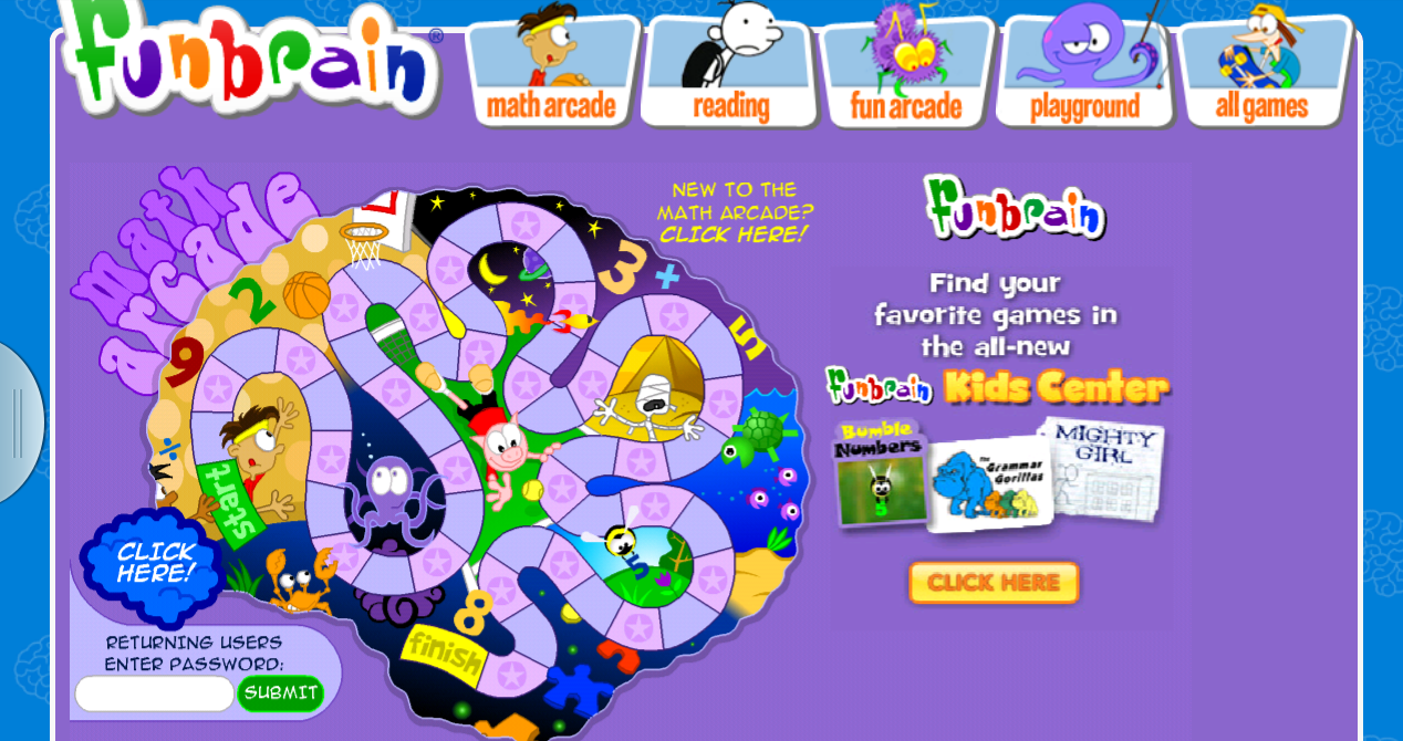 Math arcade games (and Reading games)  Create a free account