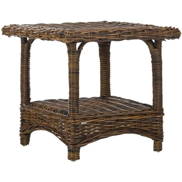 Safavieh Bowen  Rattan Side Table ($118) ❤ liked on Polyvore featuring home, furniture, tables, accent tables, rattan accent table, safavieh end tables, woven furniture, rattan side table and woven side table