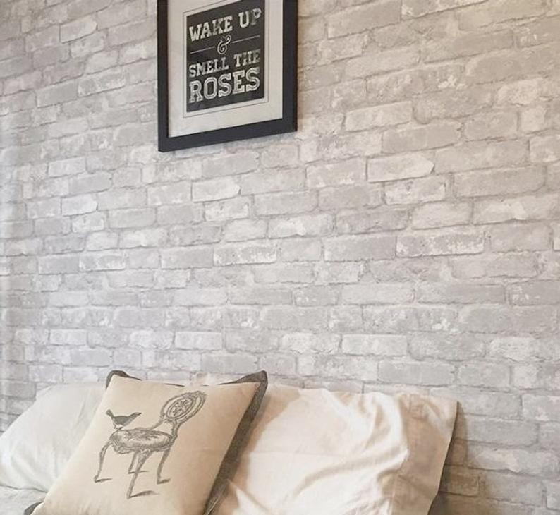 Gray Brick Peel And Stick Modern Farmhouse Wallpaper Nu1653 Etsy Farmhouse Wallpaper Brick Wallpaper Bedroom Peel And Stick Wallpaper
