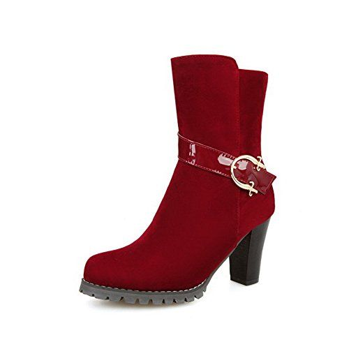 Women's High-Heels Round Closed Toe Imitated Suede Low-Top Solid Zipper Boots Red-Frosted 37