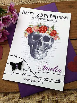 Large Handmade Personalised Goth Birthday Card Sister Daughter Friend Hand Made Cards Cardmaking Scr Cards Handmade Birthday Cards Cards For Friends