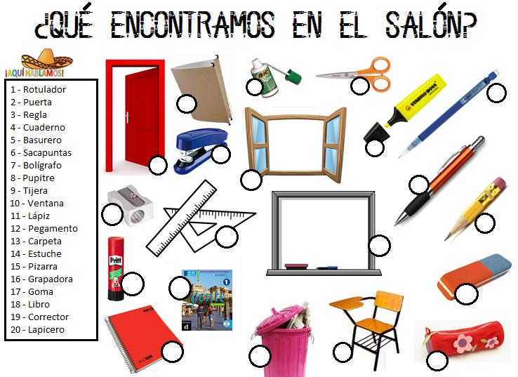 Aqu hablamos qu encontramos en el sal n lengua for 10 objetos en ingles del salon de clases
