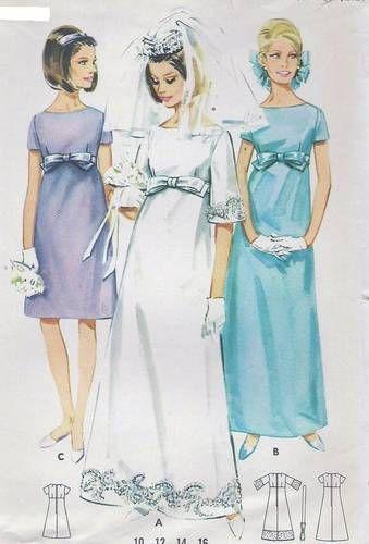 Vtg 60s Butterick Dress Empire Evening or Wedding Pattern 4377 B31 ...