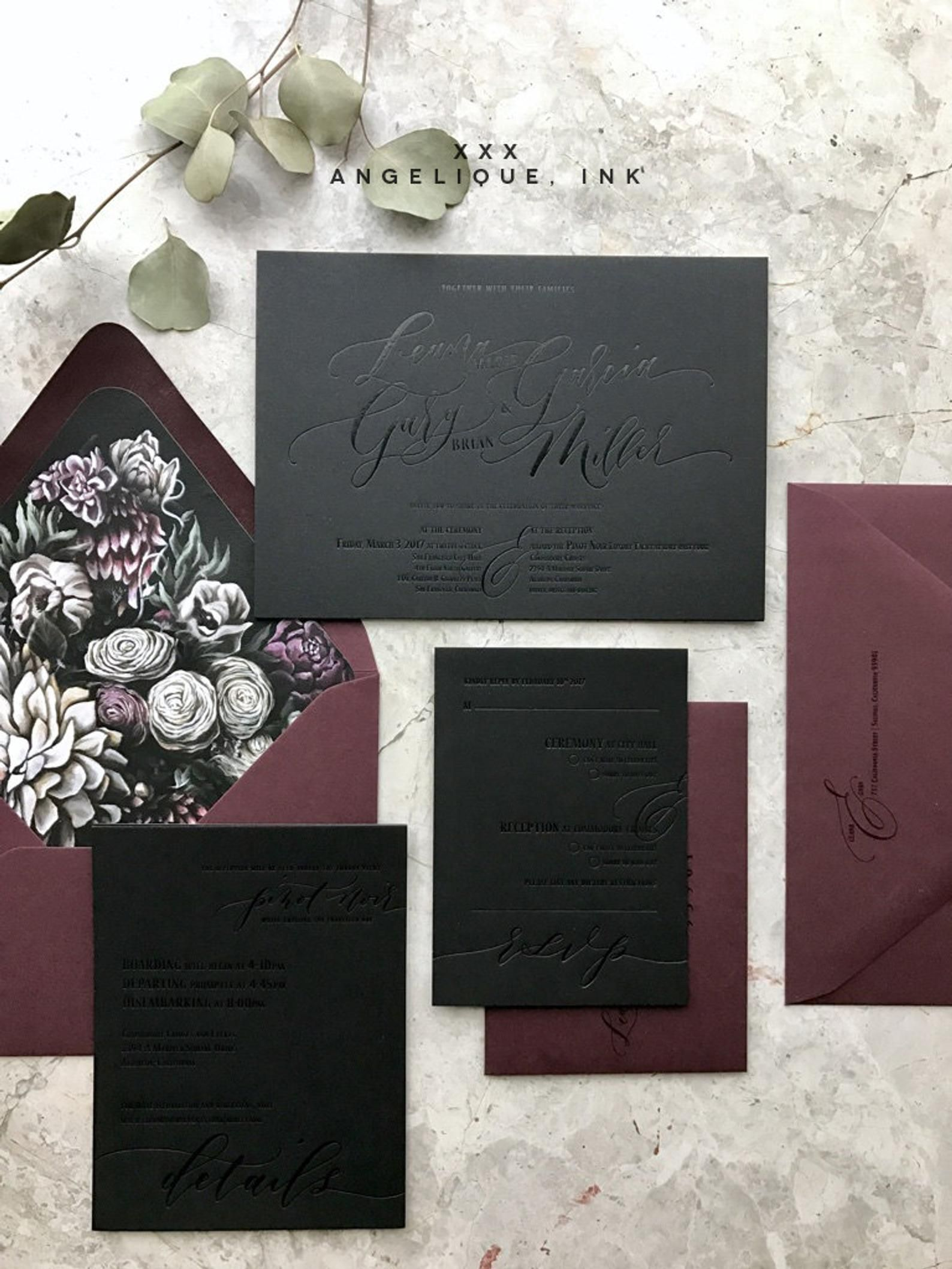 Moody Florals Calligraphy Custom Letterpress Wedding Invitations – Black on Black foil letterpress invitation – Dark Wedding Invitation