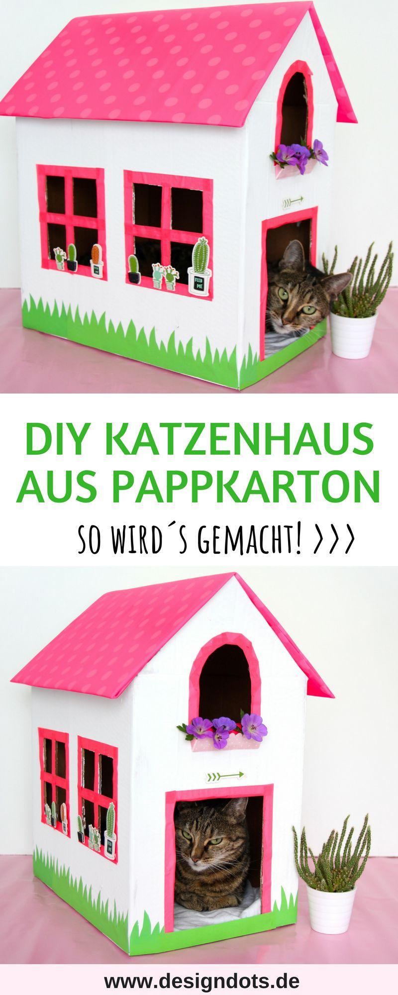 katzenhaus aus einem alten karton basteln diy pinterest diy cats und house. Black Bedroom Furniture Sets. Home Design Ideas