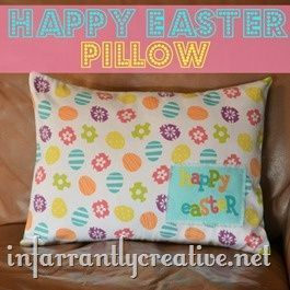 Easter pillow made using repurposed fabric napkins I am not that into the hol  Easter pillow made using repurposed fabric napkins I am not that into the hol