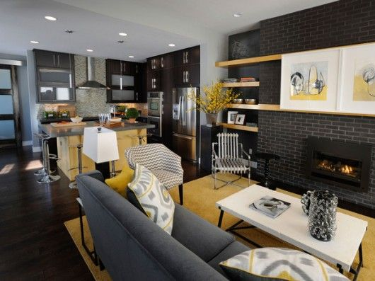 Living Room Combined With Kitchen Decoration Ideas Long Narrow