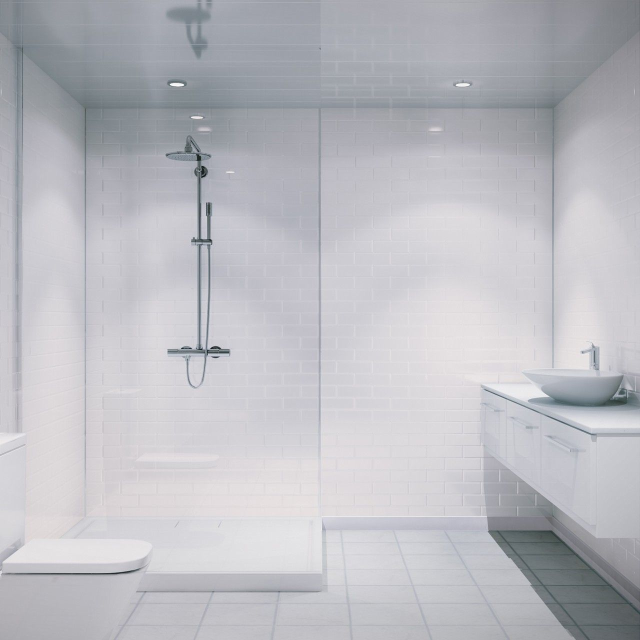 Multipanel White Vertical Brick Tile 2440mm X 1220mm Bathroom Wall Panel Bathroom Wall Panels Shower Panels Shower Wall Panels