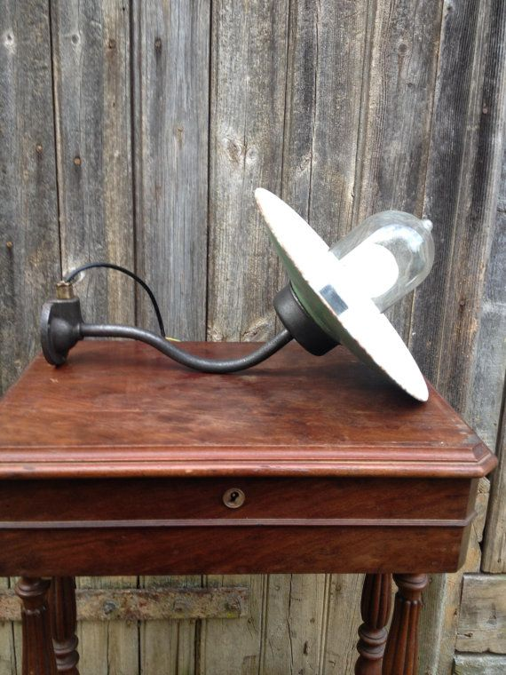 French Vintage Former Wall Lamp Of Outside In Enamel Iron With Its Glass Globe Forms Collar Of Swan Gooseneck Ready Must To Be Insta Wall Lamp Glass Globe Lamp