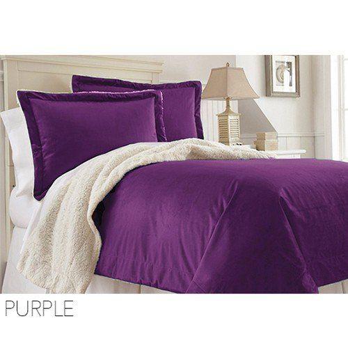 Warm Plush Sherpa Comforter Blanket Queen Sizepurple Read More