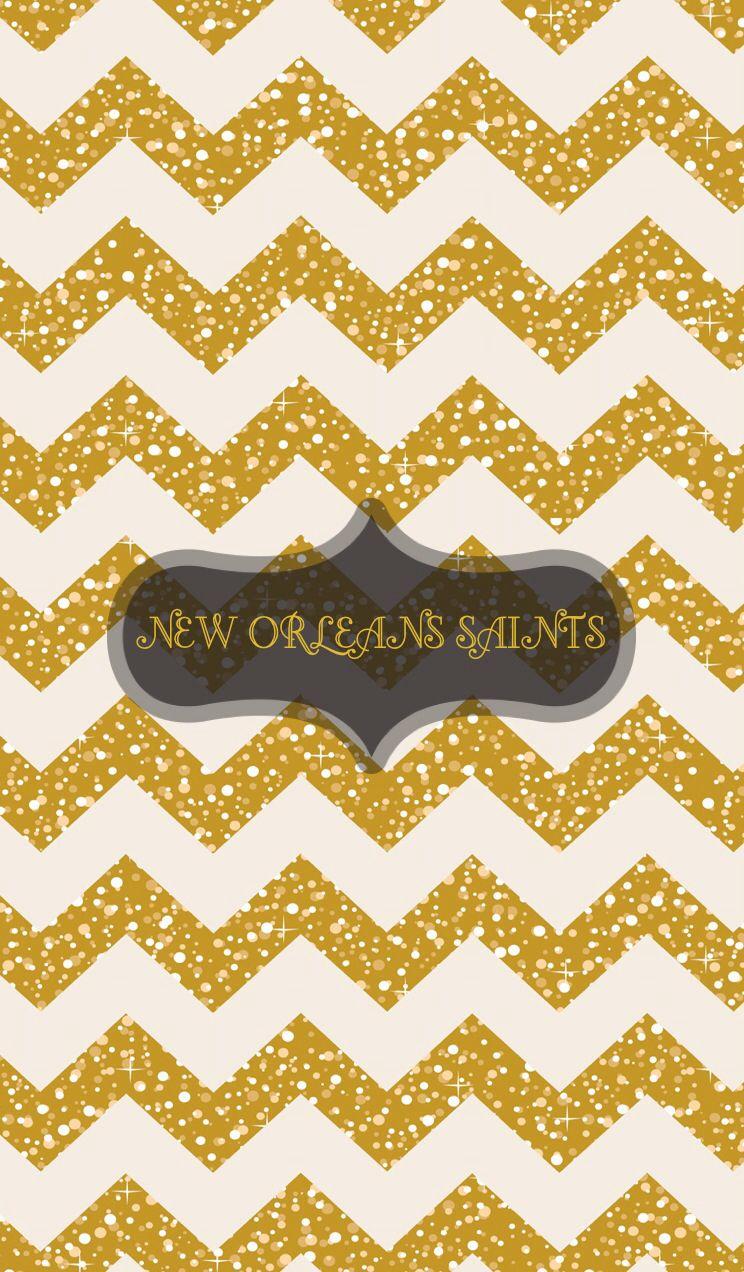 New Orleans Saints Gold Glitter Chevron Iphone Wallpaper