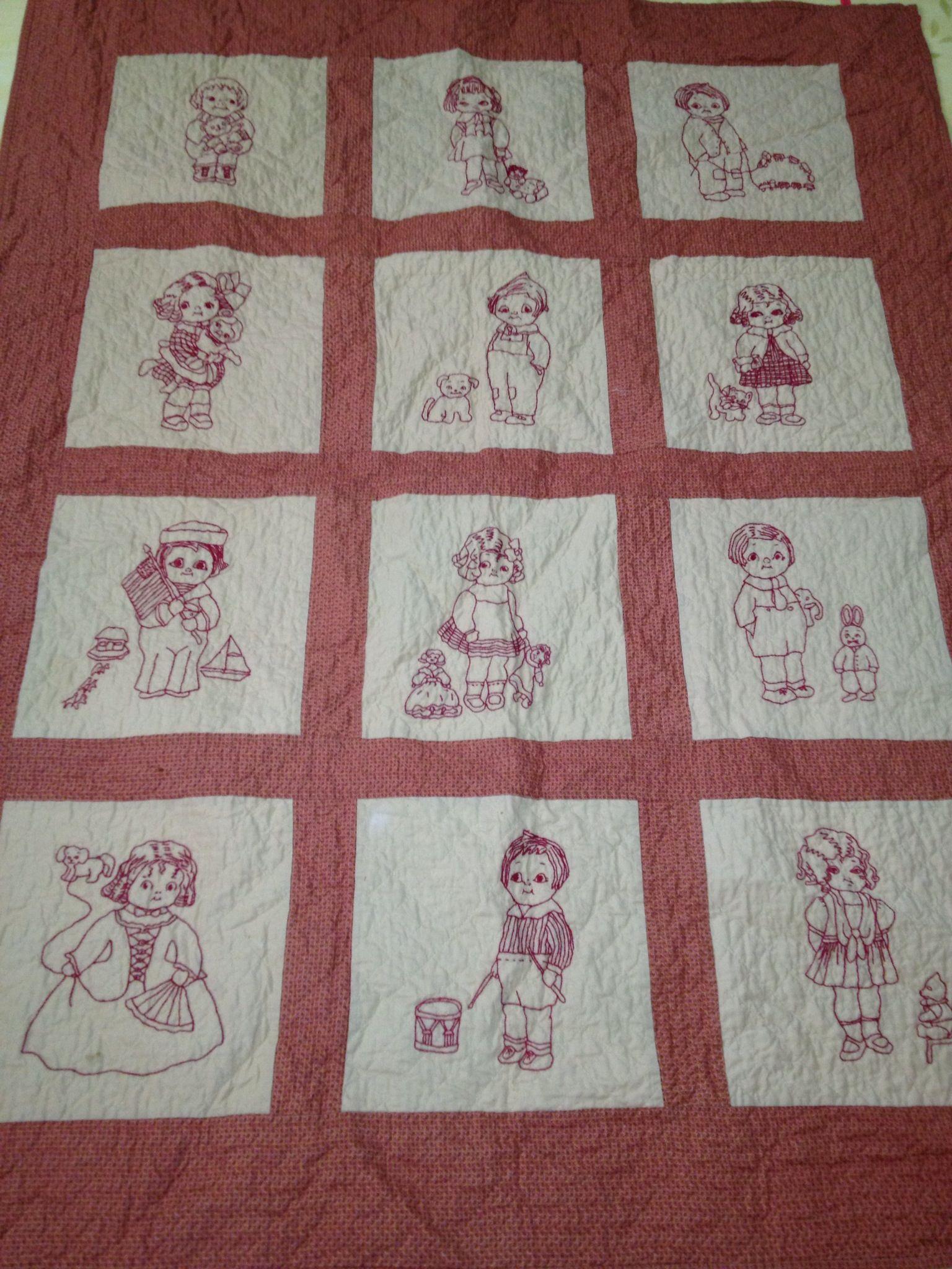 Dolly Dingle Redwork Quilt Handmade By Me Pinterest