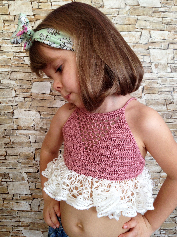 Crochet toddler top High neck crop top Boho wrap lace top