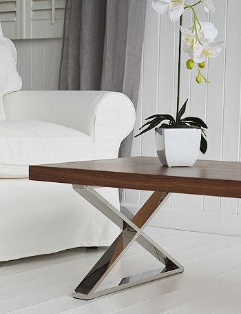 Vermont Coffee Table With Chunky Wooden Top And Chrome