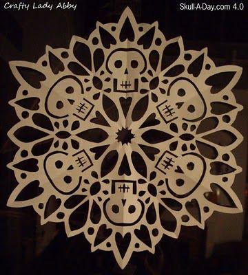 Crafty Lady Abby: Skull-A-Day 4.0 - Tutorial - #27: Skullflake (Snowflake Skull)