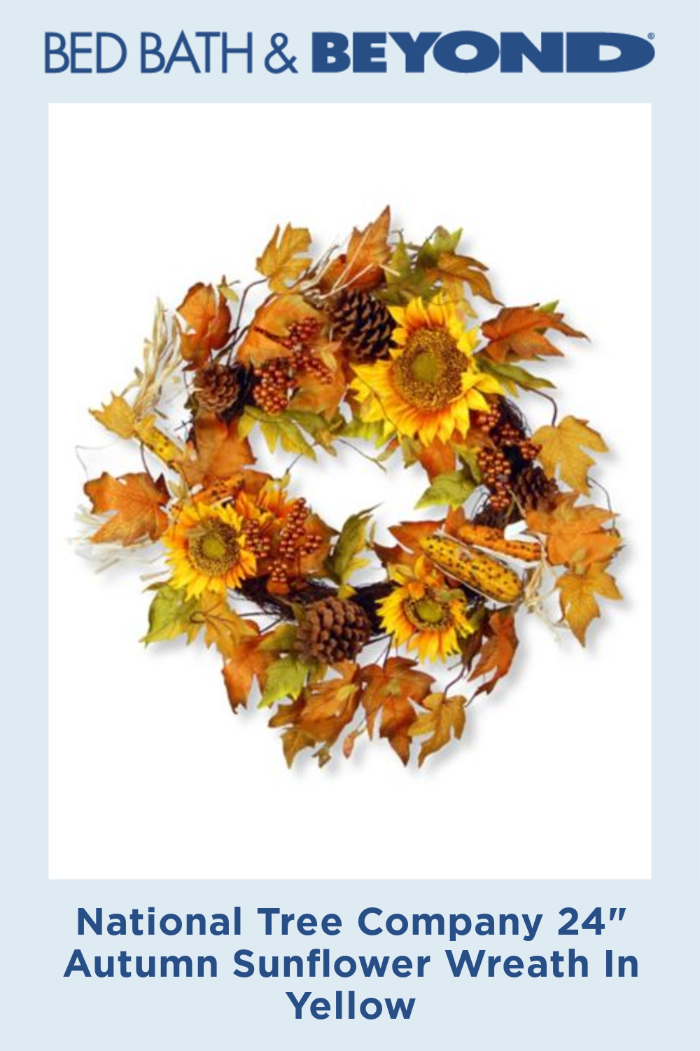 """Photo of National Tree Company 24 """"Fall Sunflower Wreath In Yellow"""