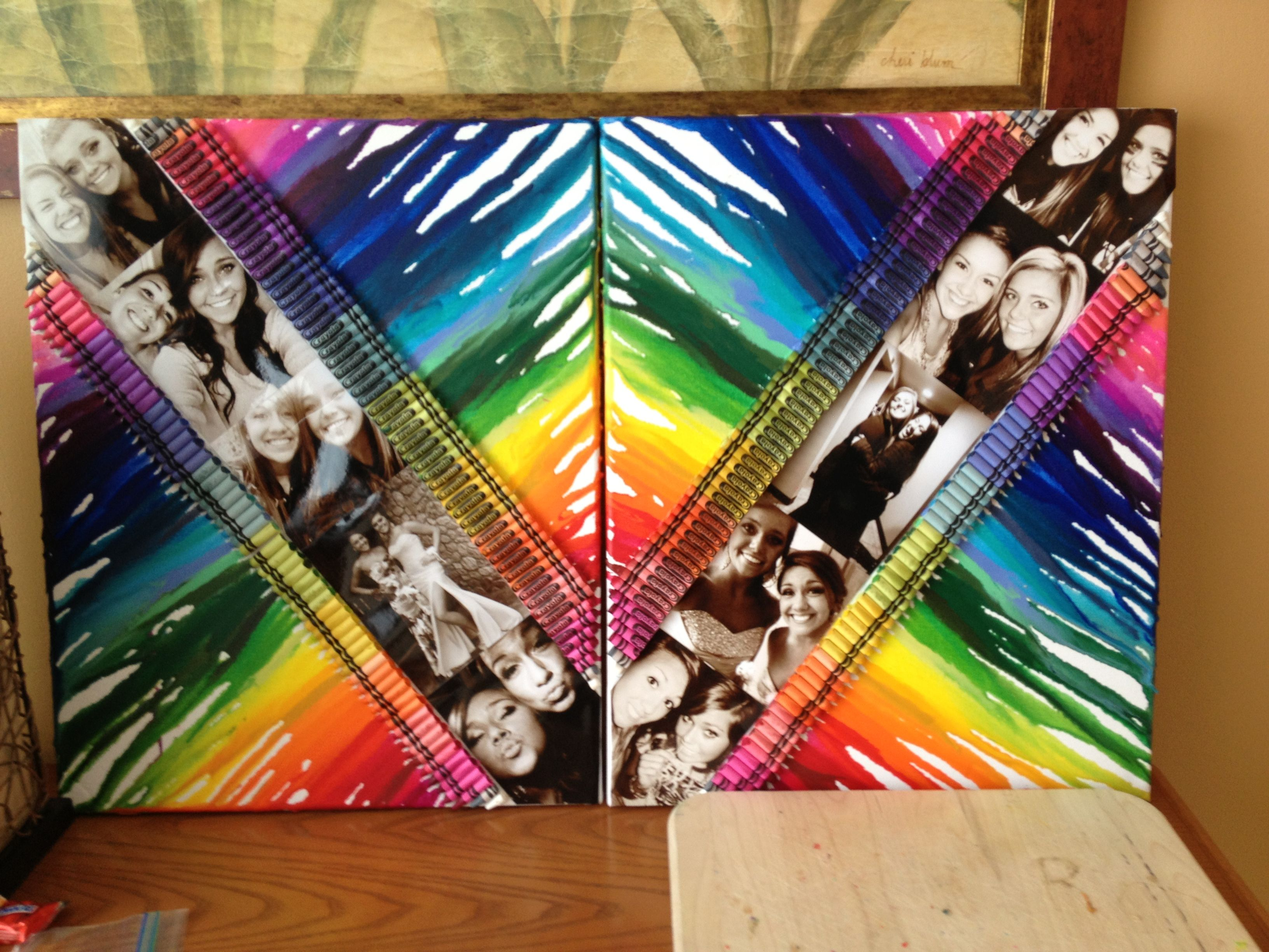 How to make a romantic scrapbook - Melted Crayons On Canvas With Black And White Pictures In The Middle Great For A
