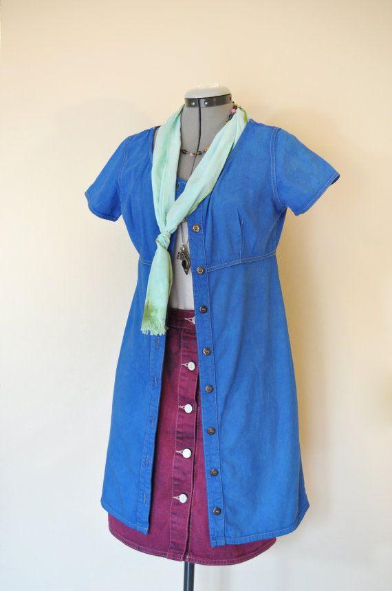 c603092827a Blue Petite 8 Medium DRESS Jumper - Royal Blue Upcycled Urban Liz Claiborne  Cotton Shirt Dress - Adult Womens Size 8P Medium (36