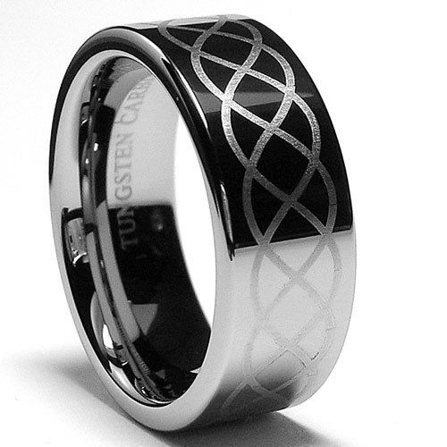 8mm Mens Tungsten Ring With Laser Etched Infinity Design