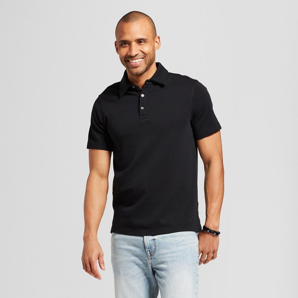 24bc79af41 Men s Standard Fit Short Sleeve Elevated Ultra-Soft Polo Shirt - Goodfellow    Co Black S