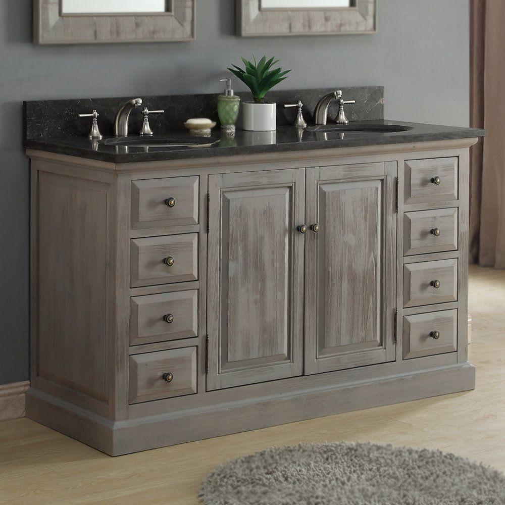 Infurniture Rustic 60 Inch Dark Limestone Double Sink Bathroom
