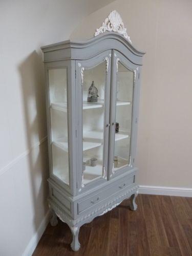 French Shabby Chic Two Door Display Cabinet Handmade In Mercury