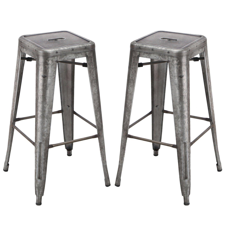 Homebeez Galvanized Steel Bar Stool Set Of Two 30 Inch Regular