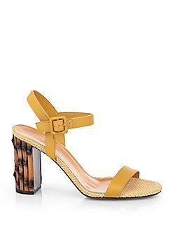 b2590e4d8c10a Gucci Dahlia Leather Bamboo-Heel Sandals Cheap