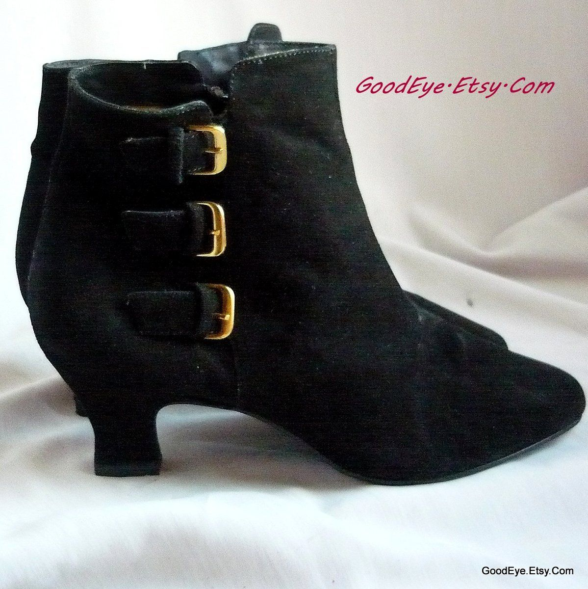 Enzo Granny Ankle Boots Size 6 5 Eu 37 Uk 3 5 90s Punk Pixie Kitten Heel Shoes Made Brazil Black Suede Leather Kitten Heel Shoes Boots Vintage Boots
