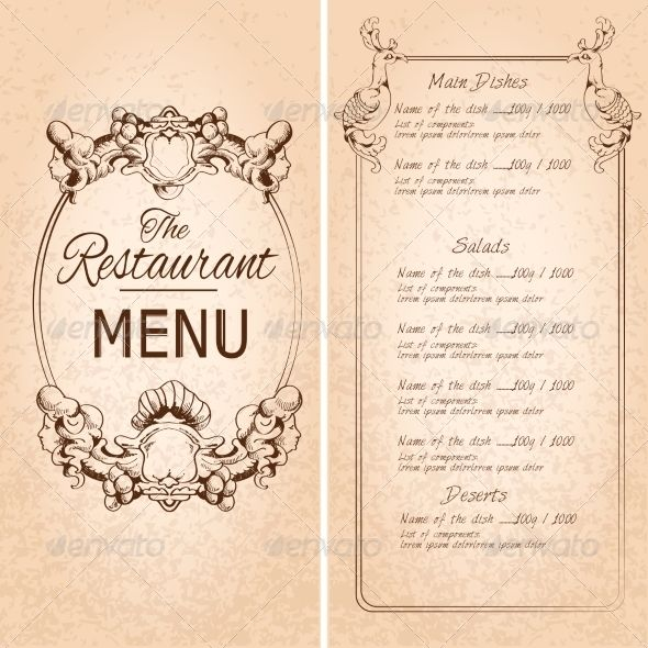 Restaurant Menu Template Album Art Background Book Border