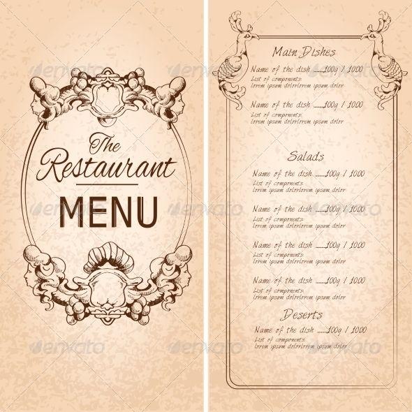 Retro Vintage Restaurant Menu Template With Frame And Decoration Vector Illustration Editable Eps And Re Menu Restaurant Menu Template Restaurant Menu Template