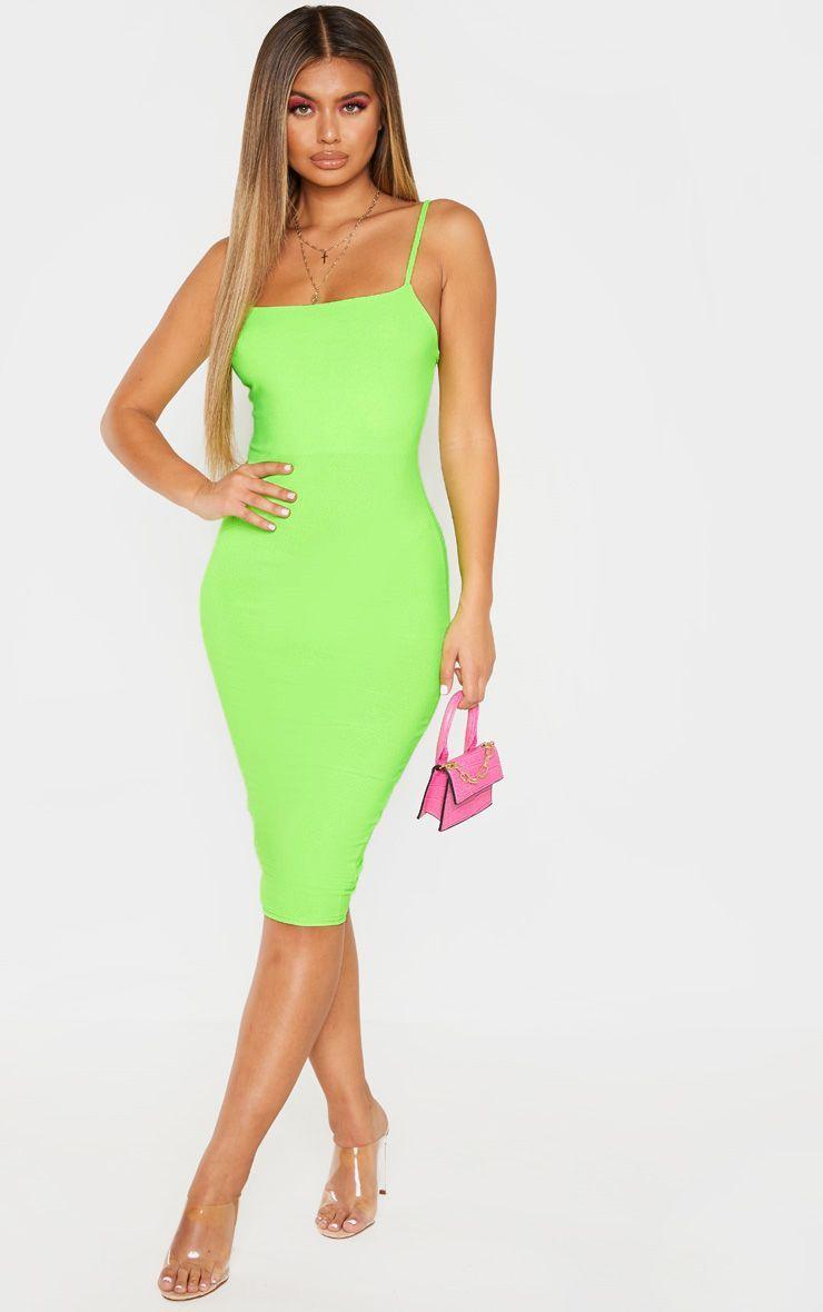 Neon Lime Strappy Midi Dress Neon Dresses Strappy Midi Dress Bold Dresses [ 1180 x 740 Pixel ]