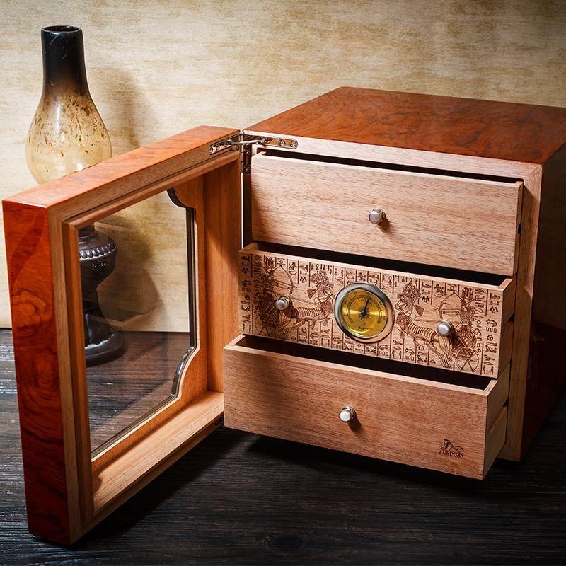 lubinski humidor  LUBINSKI HANDMADE Luxury Brown High Glossy Piano Finish Cedar Wood ...