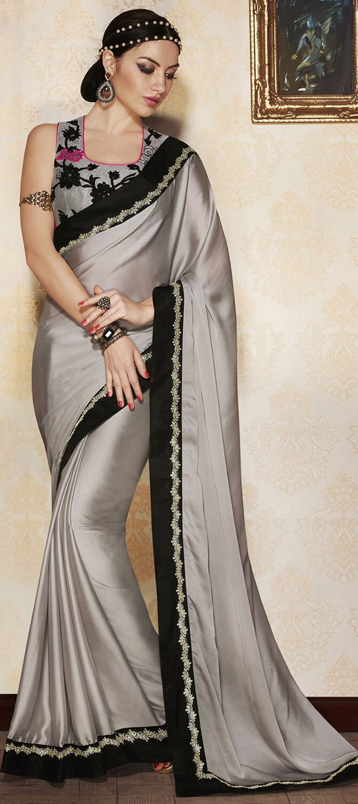 4b8b614cb3db40 Faux Georgette Party Wear Saree in Black and Grey with Lace work ...