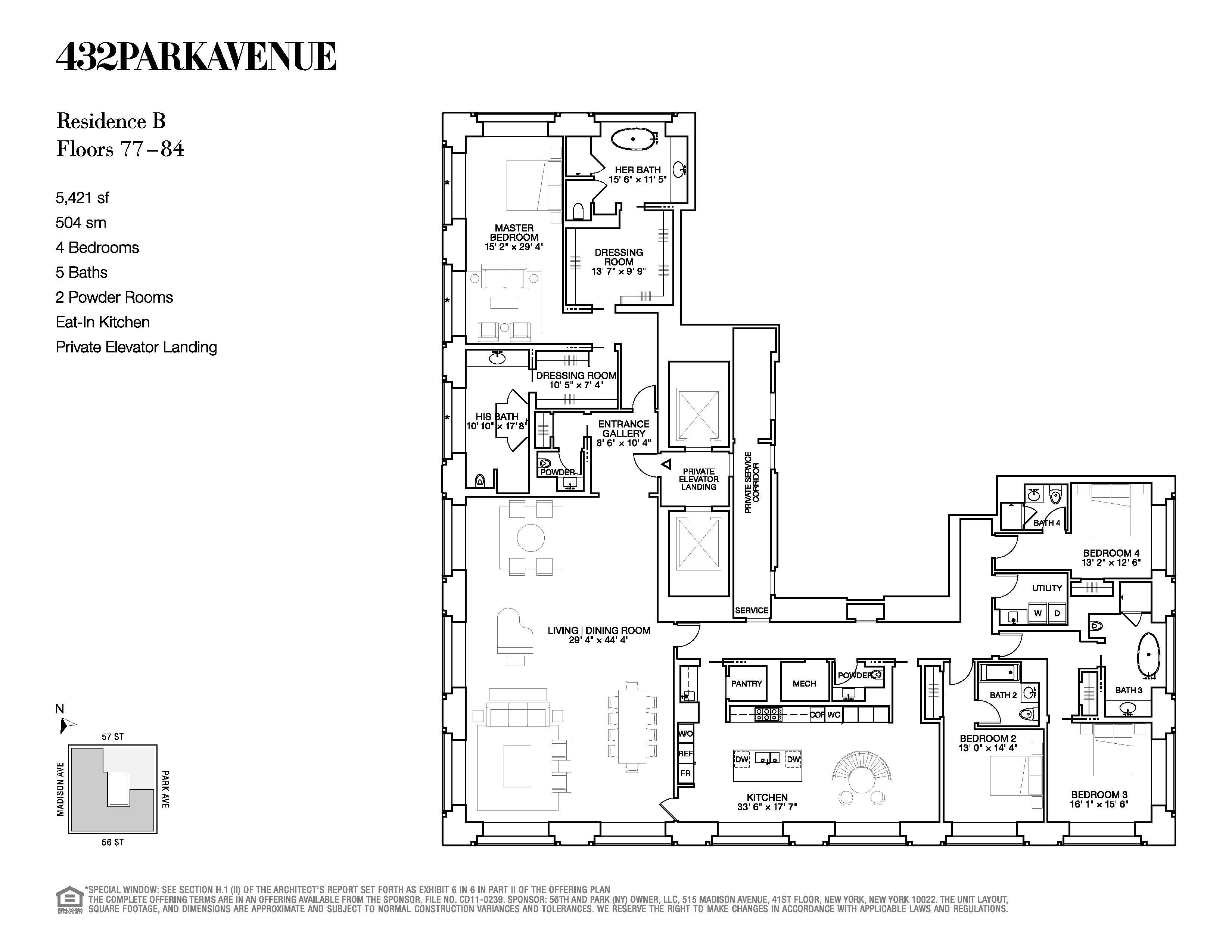 432 Park Avenue Floor Plans New York, USA Floor plans