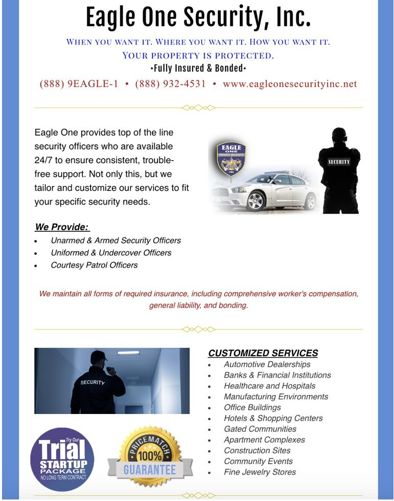 24/7 Top of the Line Security Guard Services, for all your security