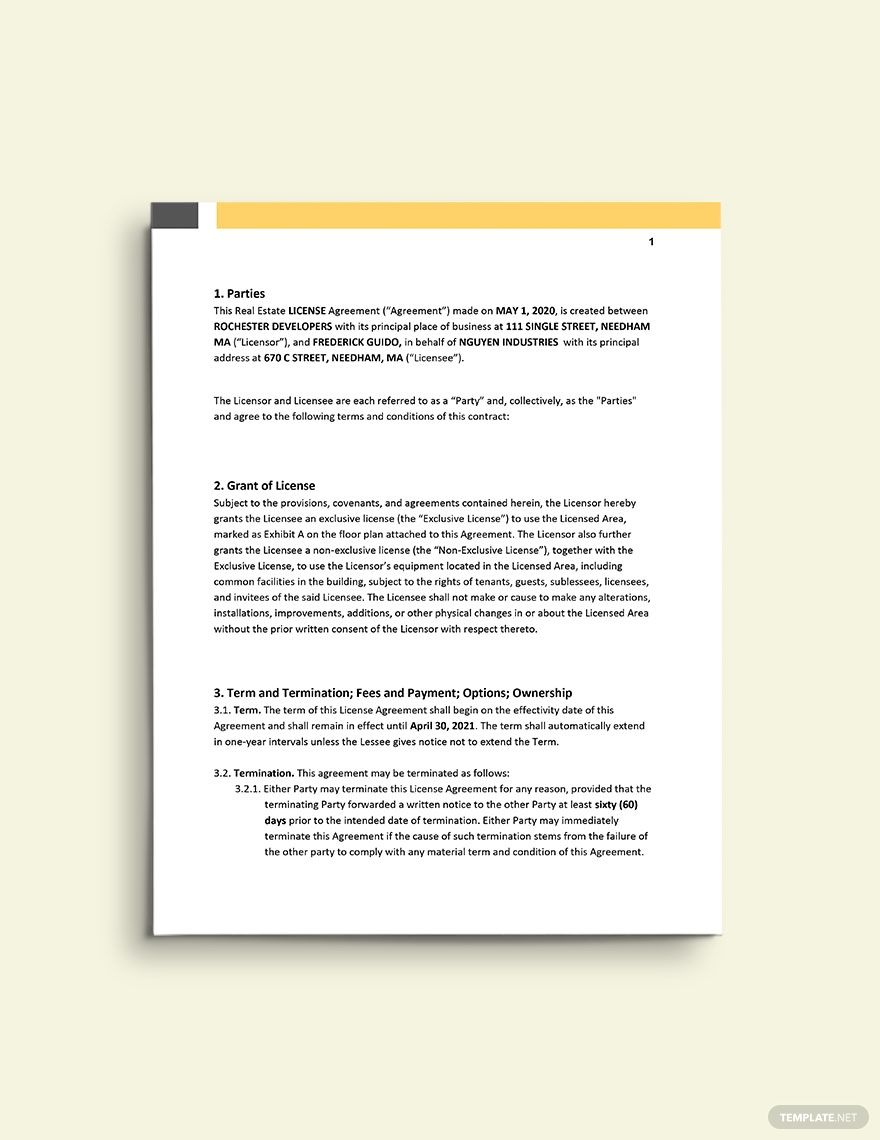 Real Estate License Agreement Template Free Pdf Google Docs Word Apple Pages Template Net Templates Word Doc Agreement Real estate development agreement template
