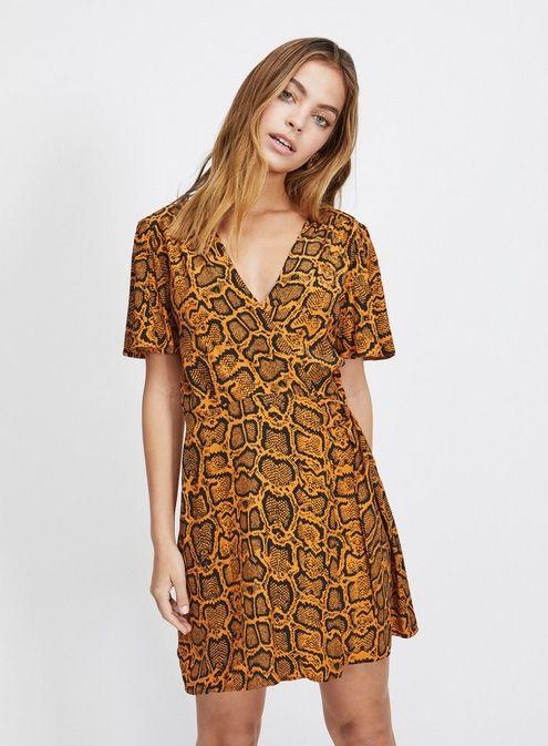 bb7c5b7ab8 PETITE Brown Snake Print D-Ring Dress